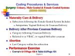 coding procedures services surgery urinary male genital female genital systems 50000 589995