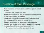 duration of term coverage