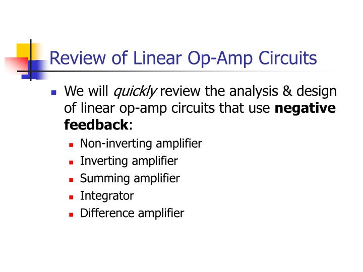 review of linear op amp circuits n.