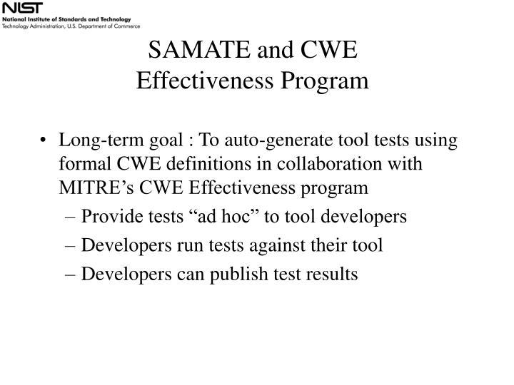 SAMATE and CWE