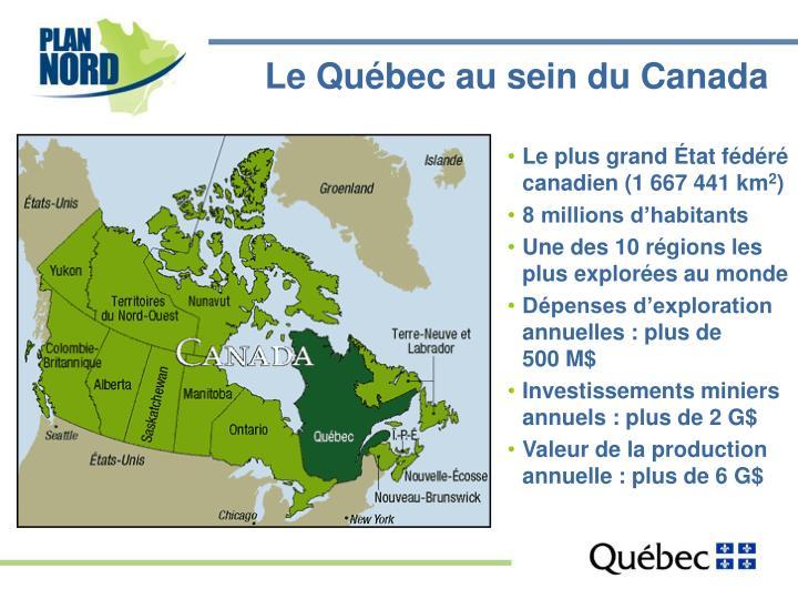 Le Québec au sein du Canada