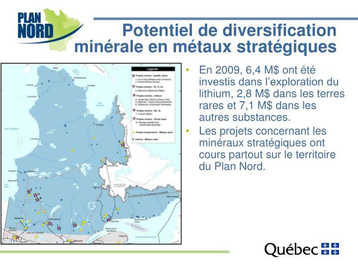 Potentiel de diversification minérale en métaux stratégiques