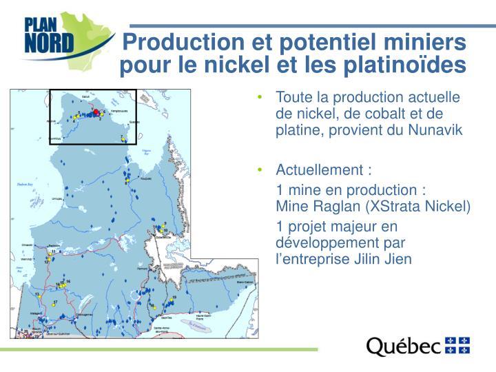 Production et potentiel miniers pour le nickel et les platinoïdes