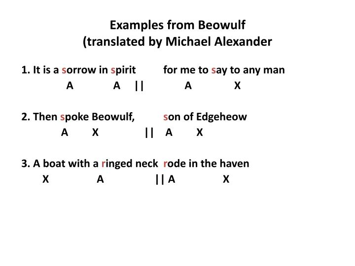 Examples from Beowulf