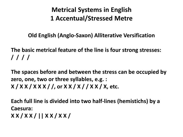 Metrical Systems in English