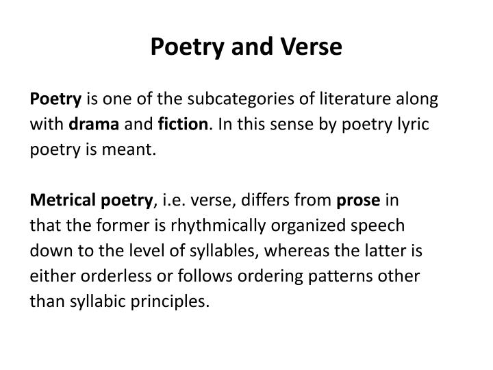 Poetry and verse