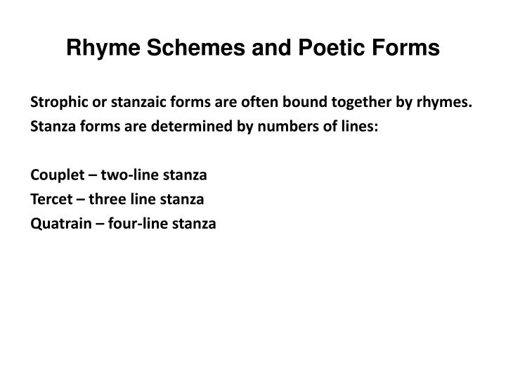 Rhyme Schemes and Poetic Forms