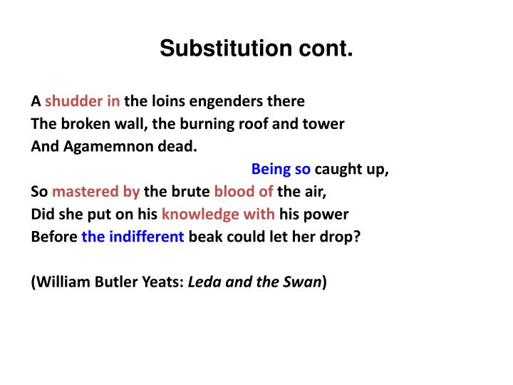 Substitution cont.