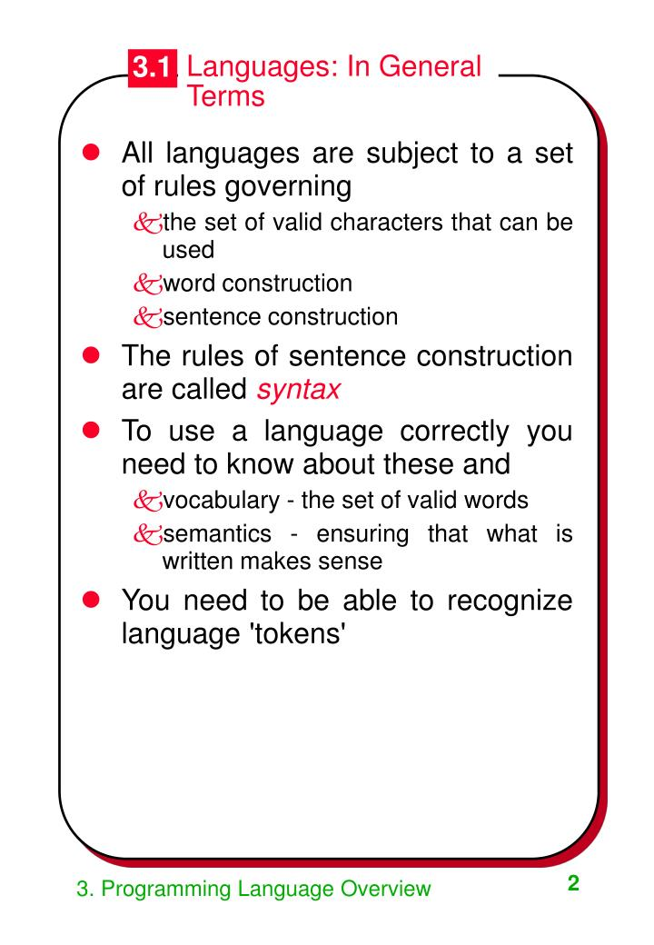 Languages: In General