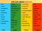 ciri ciri umum manusia
