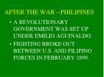 after the war philipines