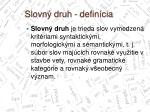 slovn druh defin cia