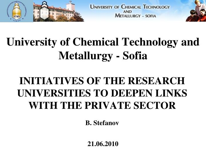 university of chemical technology and metallurgy sofia n.
