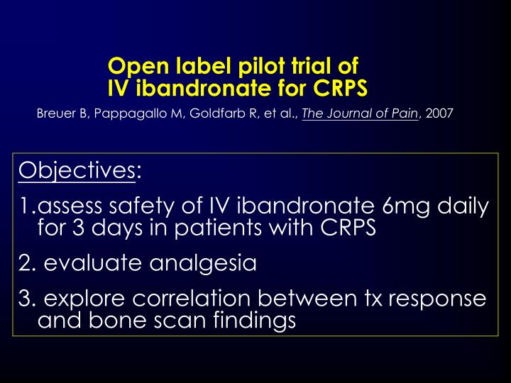 Open label pilot trial of                                            IV ibandronate for CRPS