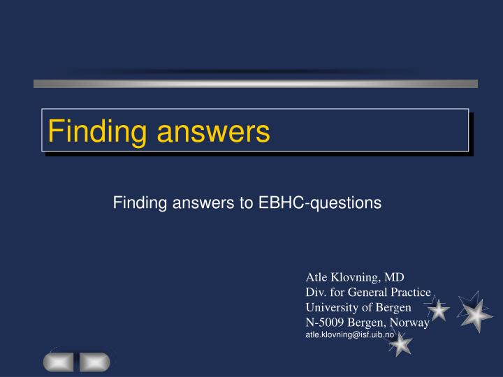 finding answers n.