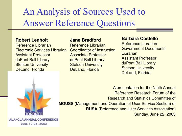 An analysis of sources used to answer reference questions