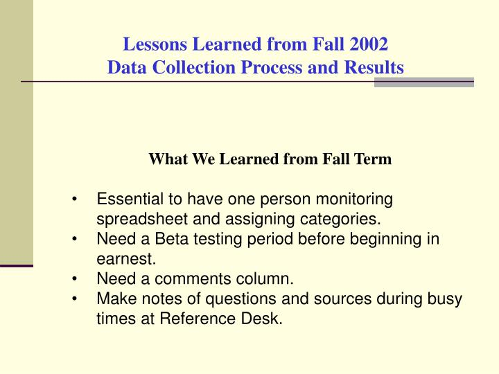 Lessons Learned from Fall 2002