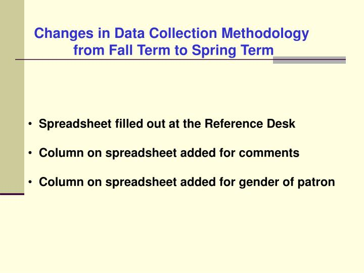 Changes in Data Collection Methodology