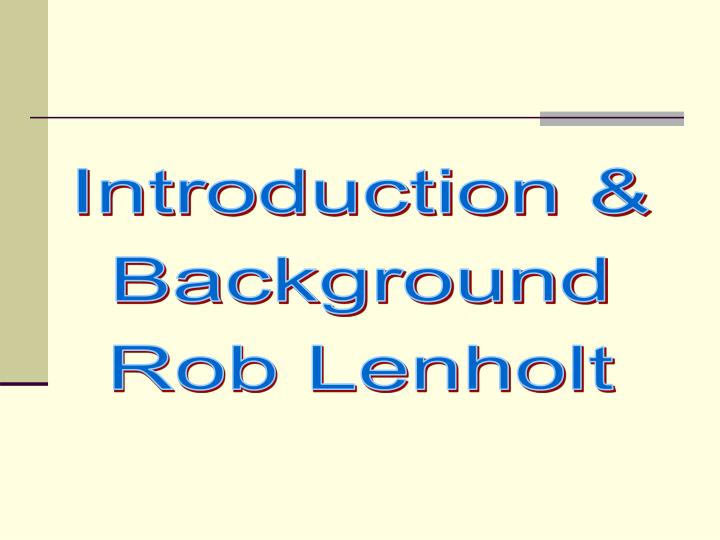 Introduction &