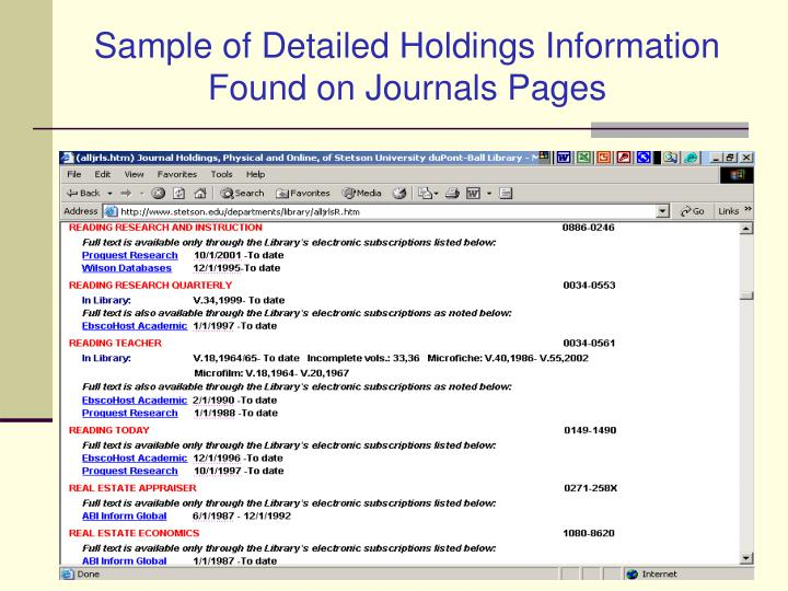 Sample of Detailed Holdings Information Found on Journals Pages