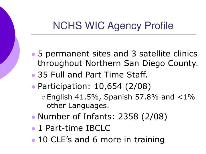 Nchs wic agency profile