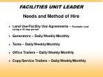facilities unit leader