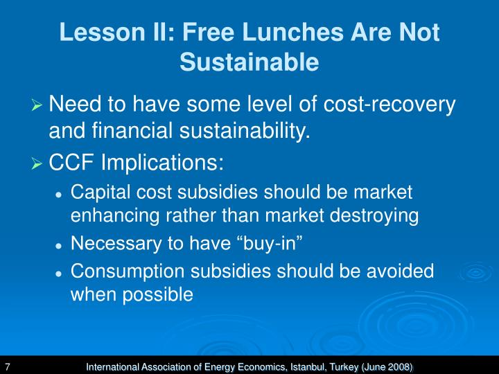 Lesson II: Free Lunches Are Not Sustainable
