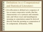 definition w r t computational and statistical literature