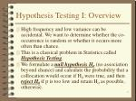 hypothesis testing i overview