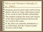 mean and variance smadja et al 1993