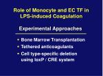 role of monocyte and ec tf in lps induced coagulation