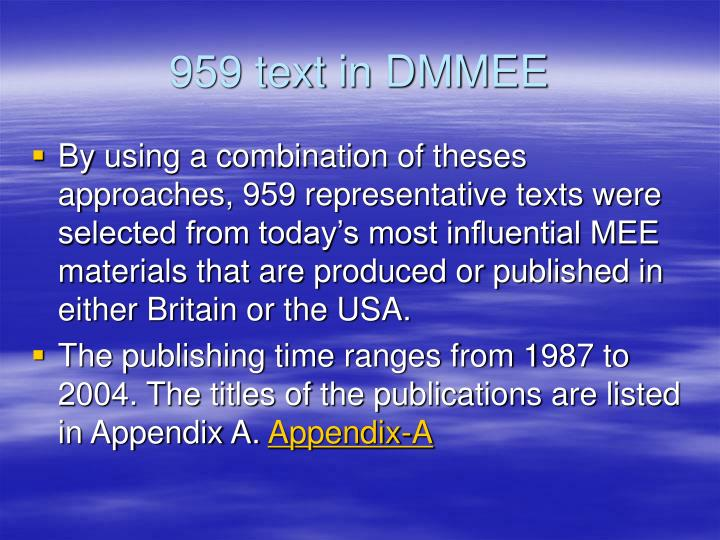 959 text in DMMEE
