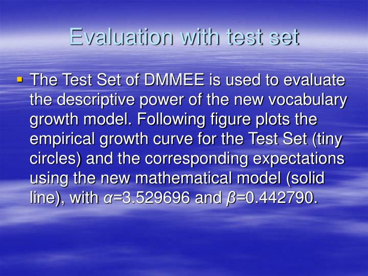 Evaluation with test set
