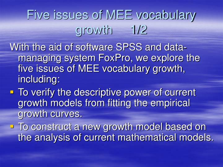 Five issues of MEE vocabulary growth     1/2