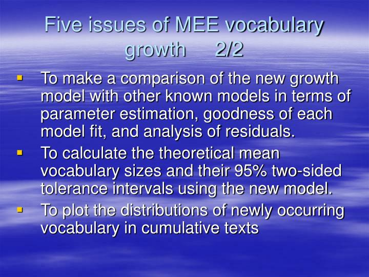 Five issues of MEE vocabulary growth     2/2