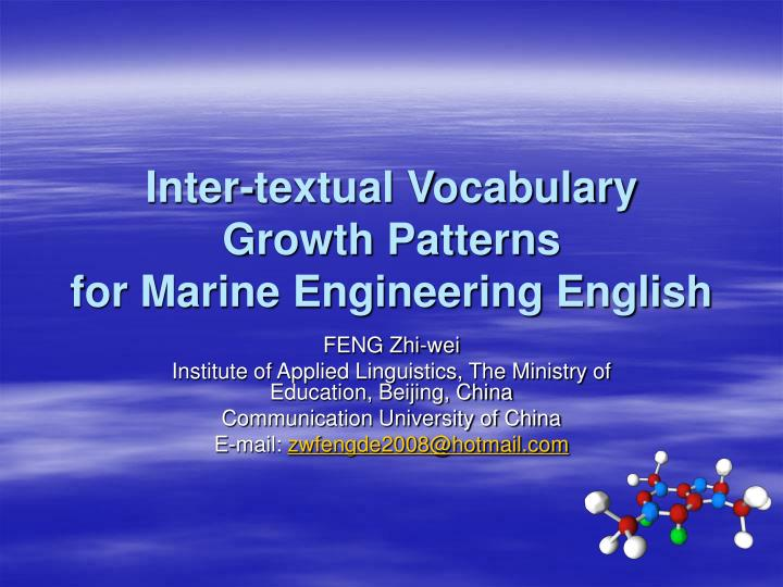 Inter textual vocabulary growth patterns for marine engineering english