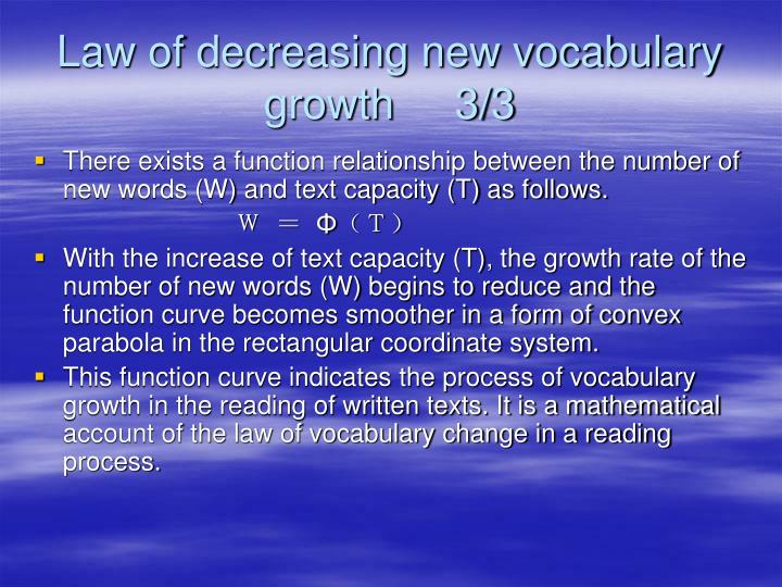 Law of decreasing new vocabulary growth     3/3