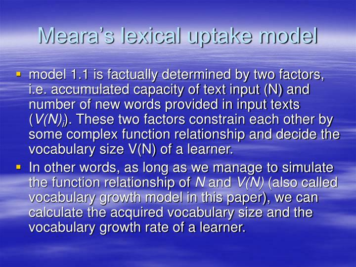 Meara's lexical uptake model