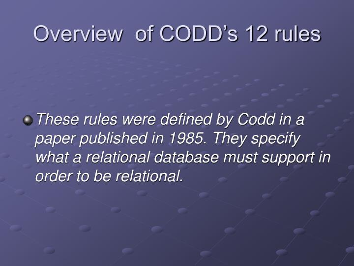 overview of codd s 12 rules n.