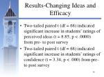 results changing ideas and efficacy
