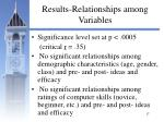 results relationships among variables