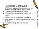 critiques continued