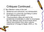 critiques continued1