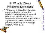 iii what is object relations definitions