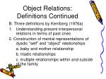 object relations definitions continued