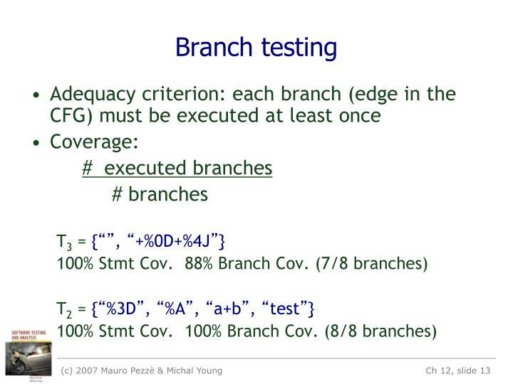 Branch testing