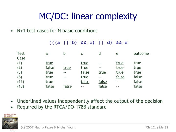 MC/DC: linear complexity