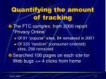 quantifying the amount of tracking