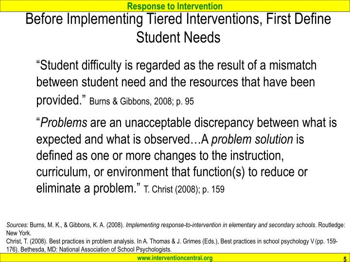Before Implementing Tiered Interventions, First Define Student Needs