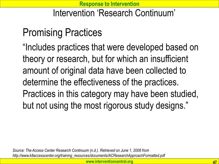 Intervention 'Research Continuum'